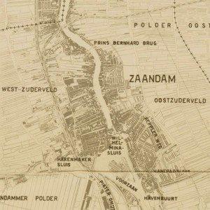 Kaart van Zaandam in 1940