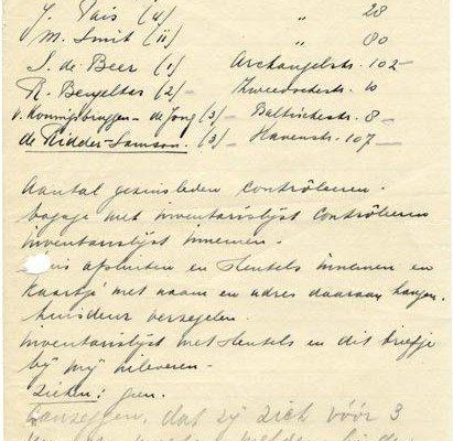 loopbriefje jodenevacuatie hoogendijk en havenstraat zaandam 1942