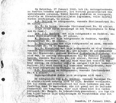 politierapport jodenevacuatie zijstraten westzijde Zaandam1942